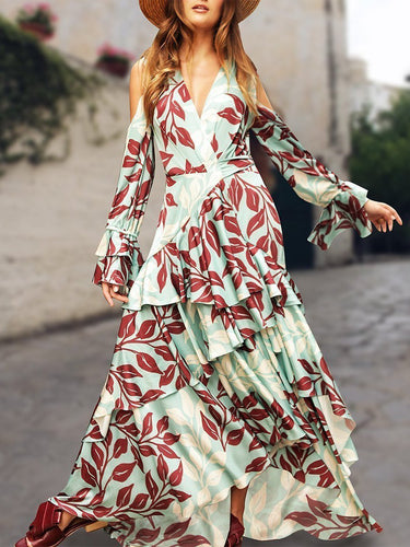 PMS Maxi Dresses Light Green / s Sexy V Neck Floral Printed Layered Hem Fishtail Maxi Dress