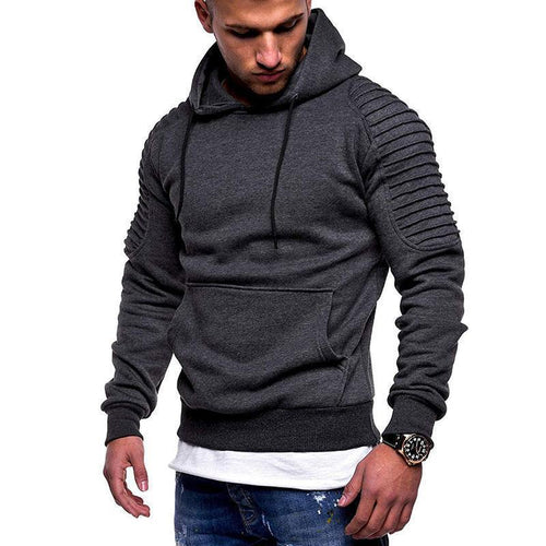 PMS Men's Clothing Dark Grey / m Striped pleated raglan sleeves hooded sweatshirt