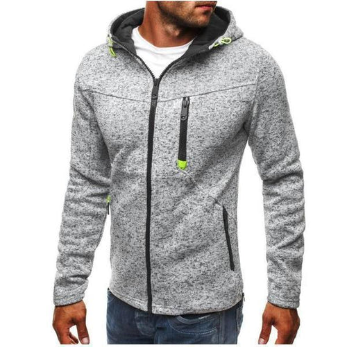 PMS Men's Clothing Light Gray / S Men's Sports And Leisure Jacquard Sweater Fleece Cardigan Hooded Jacket