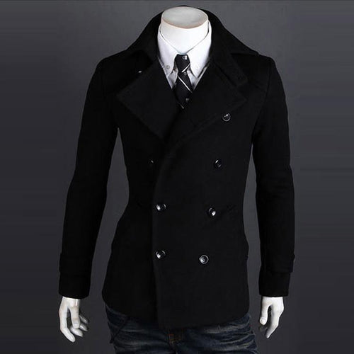 PMS Men's Coat Double-breasted Casual Coat