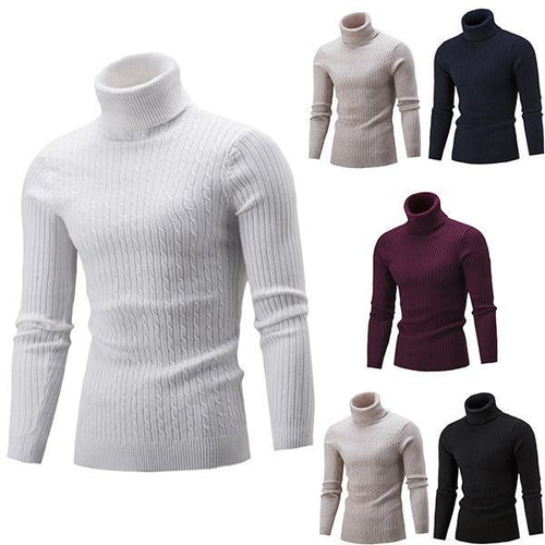 PMS Men's High Collar Solid Color Twist Bottoming Sweater