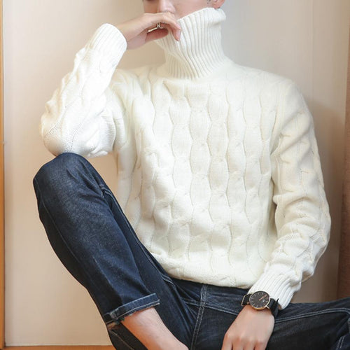 PMS Men's Sweaters White / s Autumn And Winter New Men's High Collar Pullover Sweater