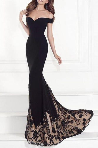 PMS Off-Shoulder Sexy Fishtail Evening Dress