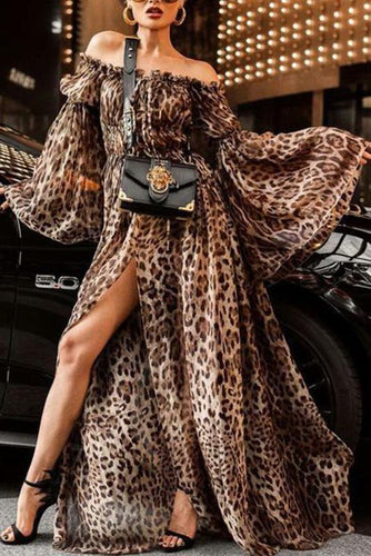 PMS Off Shoulder Sexy Leopard Printed Flare Sleeve Maxi Dress