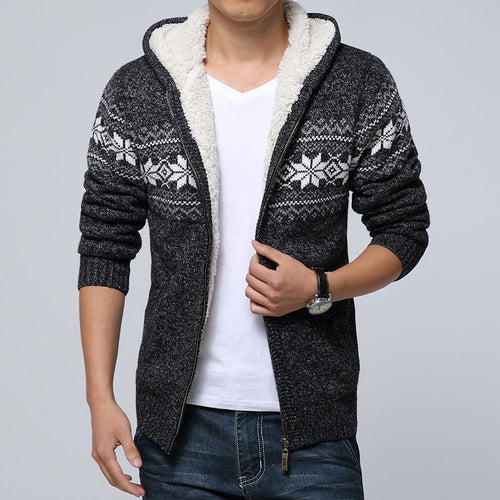 PMS Outerwear Men Printing Knitted Plus Thick Velvet Sweater