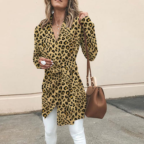 PMS Outerwear Yellow / s Fashionable V-Neck With Long-Sleeved Leopard Print Outerwear
