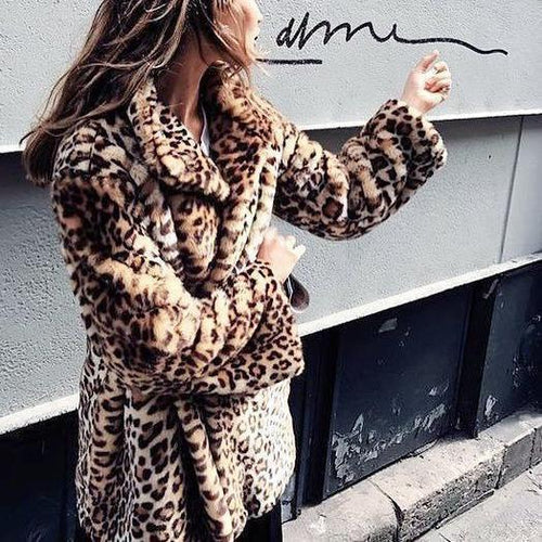PMS Outwear Leopard Print / s Sexy Lapel Collar Leopard Printed Floss Long Coat