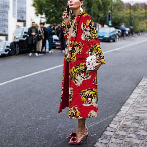 PMS Outwear Red / s Fashion Retro Dragon Print Coat Coat