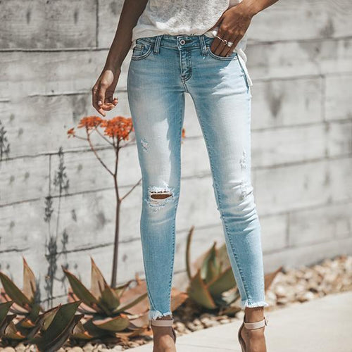 PMS Pant Light Blue / s High Waist Ripped Denim Jeans Pants