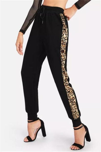 PMS Pants Black / s Fashion Casual Leopard Print Fedora Pants