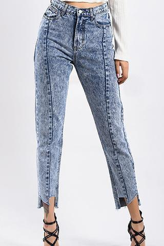 PMS Pants Casial High  Waist Irregular Loose Jeans Pants