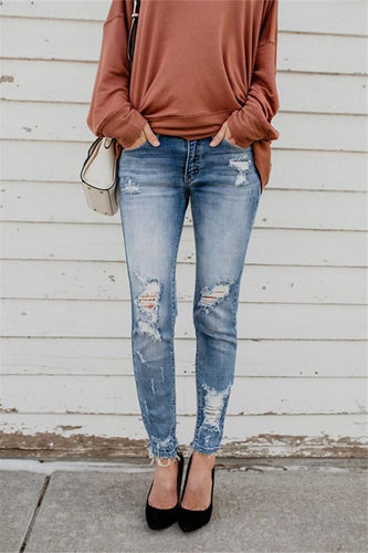 PMS Pants Casual Slim Sexy High   Stretch Ripped Jeans