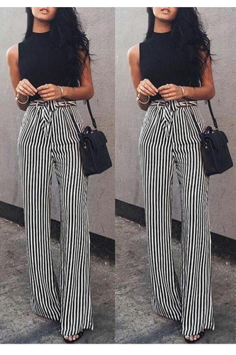 PMS Pants Fashion Casual Slim Striped Lace-Up Straight Trousers Pants