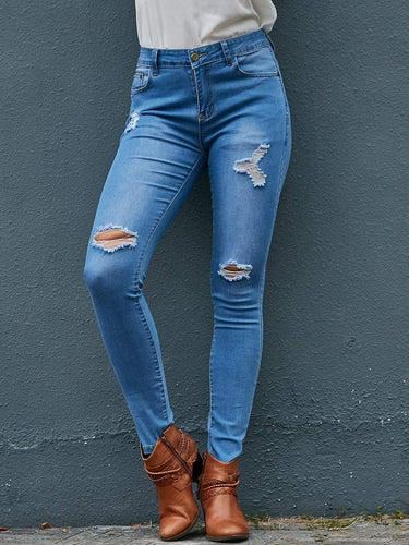 PMS Pants Light Blue / m Shredded Feet Jeans