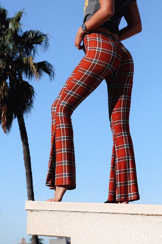 PMS Pants Red / s Slit  Gingham  Elegant  Pants