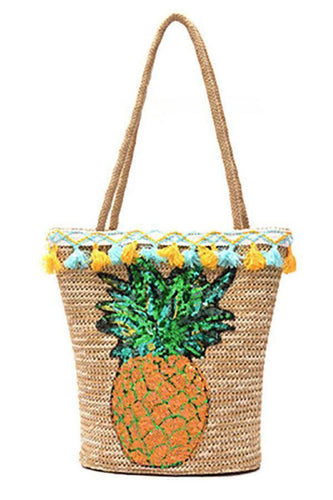 PMS Pineapple Straw Sequin Beach Hand Bag