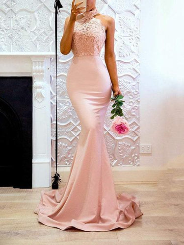 PMS Pink Halter Neck Fishtail Wedding Bodycon Maxi Dress