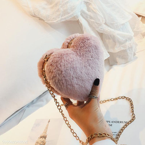 PMS pink / one size Fashion Elegant Plain Fur Small Evening Chain One Shoulder Bag