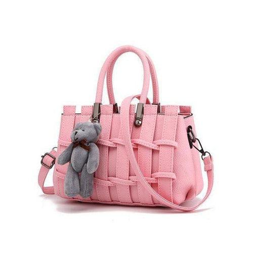 PMS pink / one size Little Bear Candy Color Weave Stylish Pu Crossbody Bag