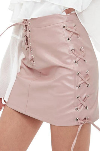 PMS pink / s Elegant Nifty Fashion Casual Slim Plain High Waist Lace-Up Front Skirt