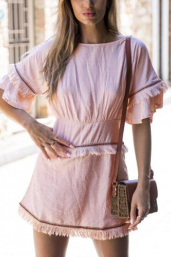 PMS pink / s Sexy Fashion Short Sleeves Tassel Mini Dress