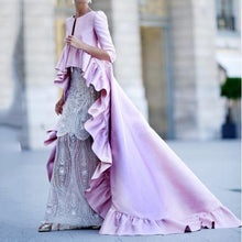 PMS Pink / s Sexy Solid Color Ruffled Maxi Dress