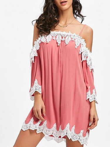 PMS pink / s Spaghetti Strap  Decorative Lace  Plain Shift Dress