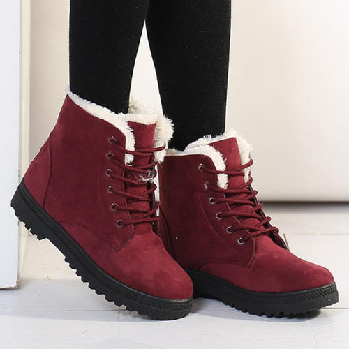 PMS Prunosus / us5 Plain  Flat  Velvet  Criss Cross  Round Toe  Casual Date Outdoor  Short Flat Boots