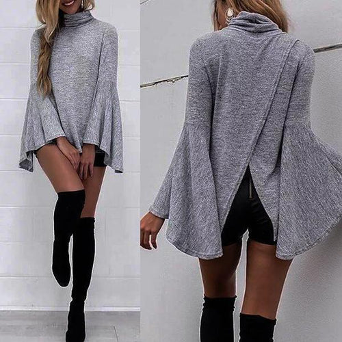 PMS Pullover Gray / s Autumn New Long-Sleeved High-Necked Trumpet Sleeves