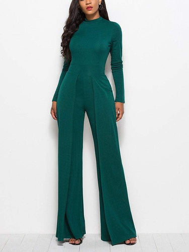PMS Pure Color Casual Slim Jumpsuit