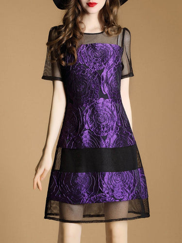 PMS purple / 2xl Round Neck  Patchwork See-Through  Jacquard Skater Dress