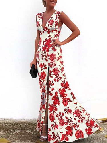 PMS red / 2xl Sexy V-Neck Vintage Red Printed Floral Evening Dress
