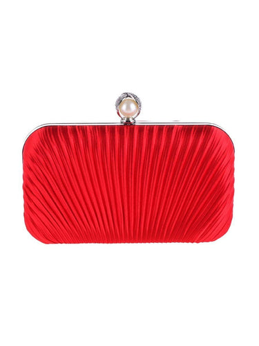 PMS red / one size Embossed Evening Pearl Clutch Bag