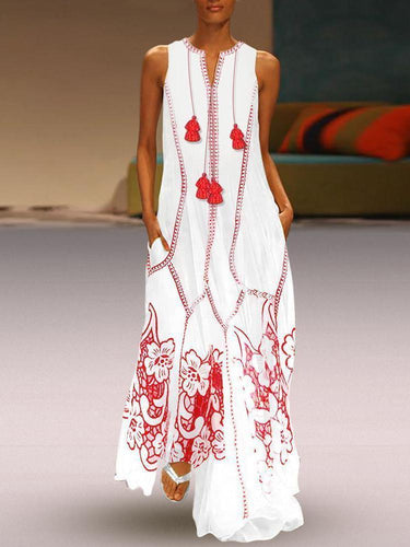 PMS red / s Catwalk Style Printed Cotton And Linen Casual Dress