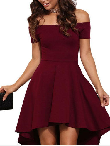PMS red / s Sexy Off Shoulder Tails Skater Dress
