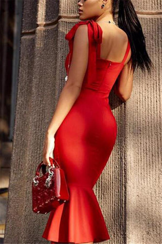PMS red / s The Temperament Retro Sexy Bag Hip Dress