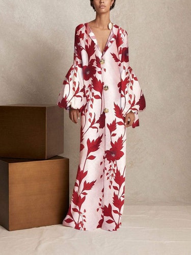 PMS red / s V Collar Long-Sleeved Printing Loose Casual Maxi Dress