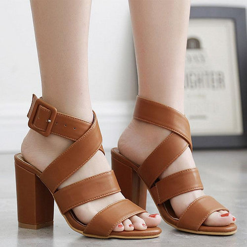 PMS Retro British Roman Thick Heel Open-Toed Sandals
