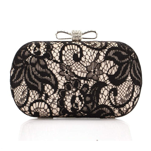 PMS Rhinestone Bowknot Black Lace Clutch Bag
