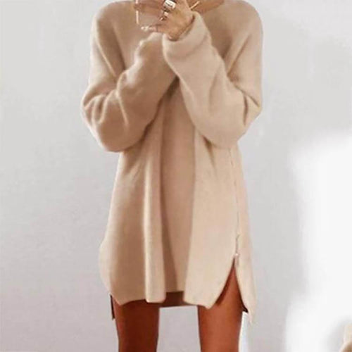 PMS Round Collar Casual Long Sleeve Oversized Sweater