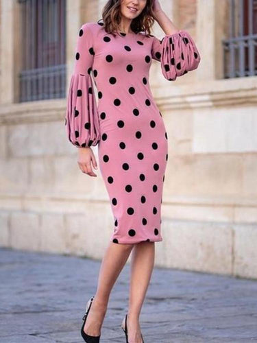 PMS Round Collar Long-Sleeved Dot Print Trim Dress