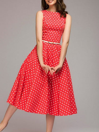 PMS Round Neck  Polka Dot Skater Dress