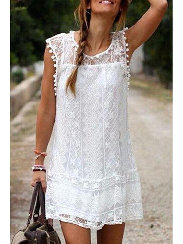 PMS Round Neck  Tassel  Lace Plain Casual Dresses