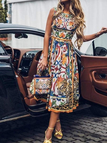 PMS Round-Necked Sleeveless Vintage Print Maxi Dress