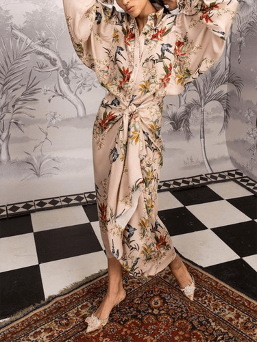 PMS same_as_photo / s Elegant Fashion Loose Floral Button V Collar Long Sleeve Fork Maxi Dress