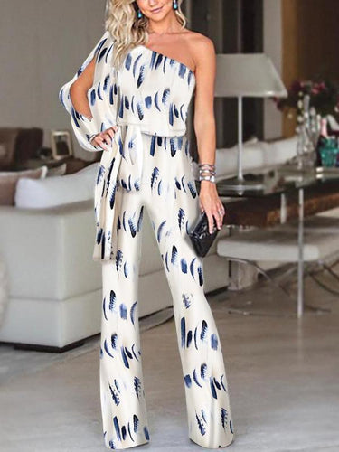 PMS same_as_photo / s Fashion One Shoulder Slit Sleeve Jumpsuit