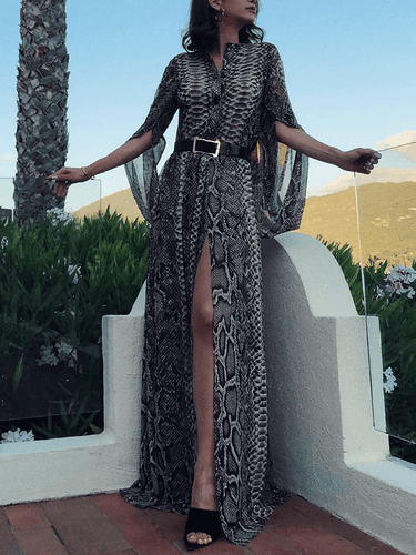 PMS same_as_photo / s Fashion Snake Printed Slit Maxi Dress