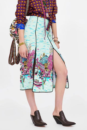 PMS same_as_photo / s Sexy Print High Waist Slim Fork Long Skirt