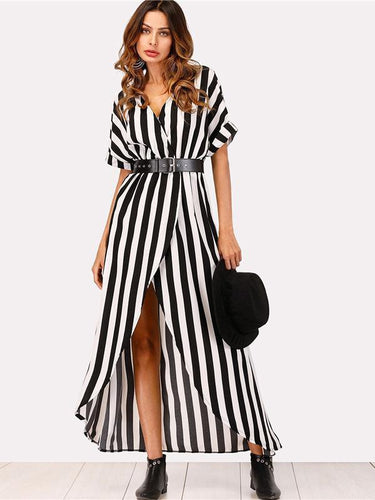 PMS same_as_photo / s V-Neck Belt High Split Stripe Maxi Dress