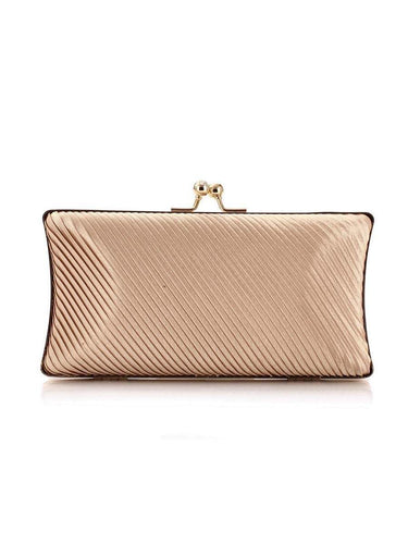 PMS Satin Pleated Evening Clutch Bag